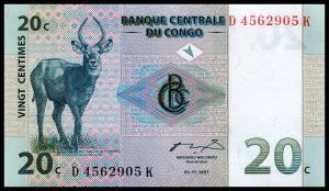 Банкнота иностранная 1997  Конго, 20 сантимов