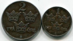 1-2 Эре   Король Густав V (1908-1950)