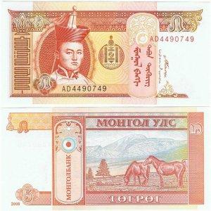 Банкнота иностранная 2008  Монголия, 5 тугриков