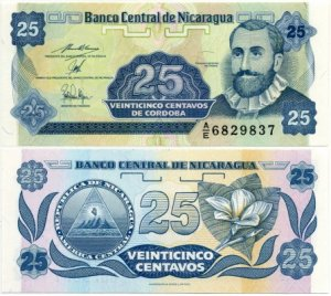 Банкнота иностранная 1991  Никарагуа, 25 центаво