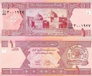Банкнота иностранная 2002  Афганистан, 1 афгани
