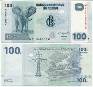 100 франков 2007  Конго