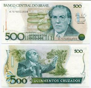 Банкнота иностранная 1988  Бразилия, 500 крузейро