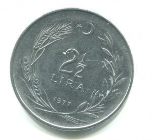 Монета 1977  2 1/2 Лиры, Турецкая Республика