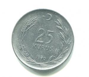 Монета 1970  25 курушей, Турецкая Республика