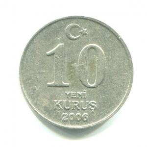 Монета 2006  10 курушей, Турецкая Республика