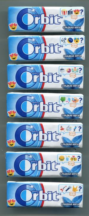 Жевательная резинка 2018  Orbit сладкая мята, 7 шт. Серия эмодзи