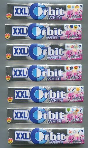 Жевательная резинка 2018  Orbit white Bubblemint, 7 шт. Серия эмодзи