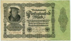 50 000 марок 1922  Германия