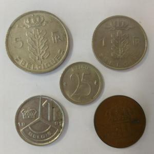 Набор монет   Бельгии 5 шт. Цена за все