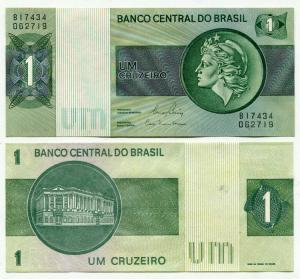 Банкнота иностранная 1980  Бразилия, 1 крузейро