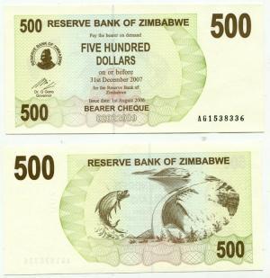 500 долларов 2006  Зимбабве